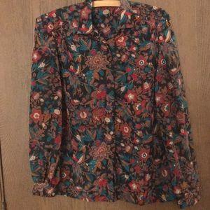 Vintage Lightweight Floral Blouse Shirt